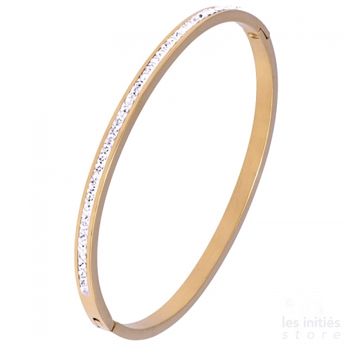 Row of rhinestones rigid bangle rose gold-plated