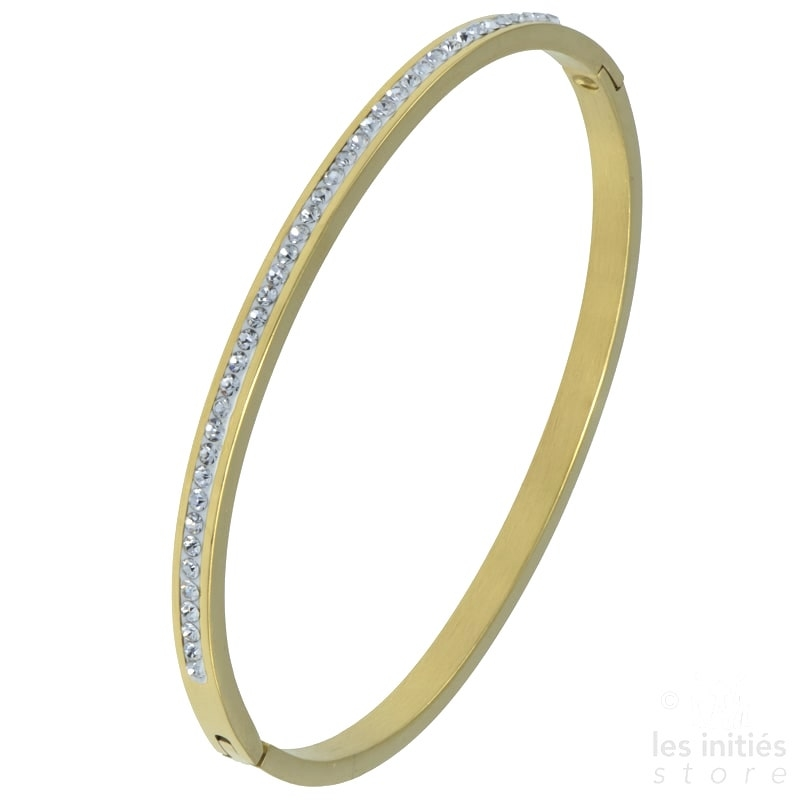 Row of rhinestones rigid bangle gold-plated