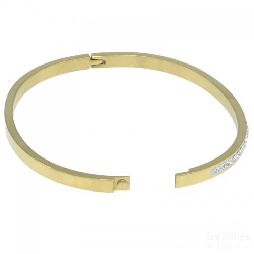Bracelet rigide rangée de strass doré