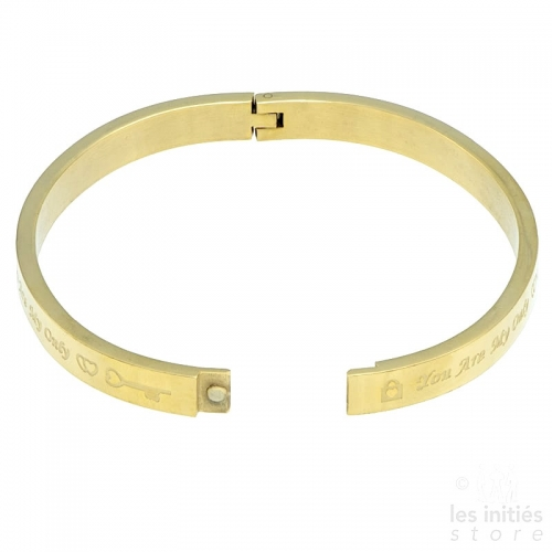 You are my only love rigid bangle gold-plated