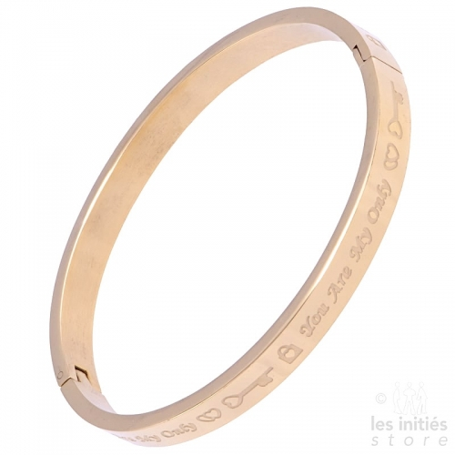 You are my only love rigid bangle rose gold-plated