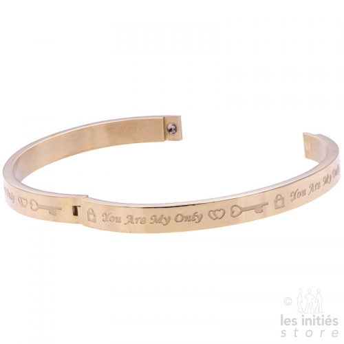 Bracelet rigide you are my only love doré-rosé