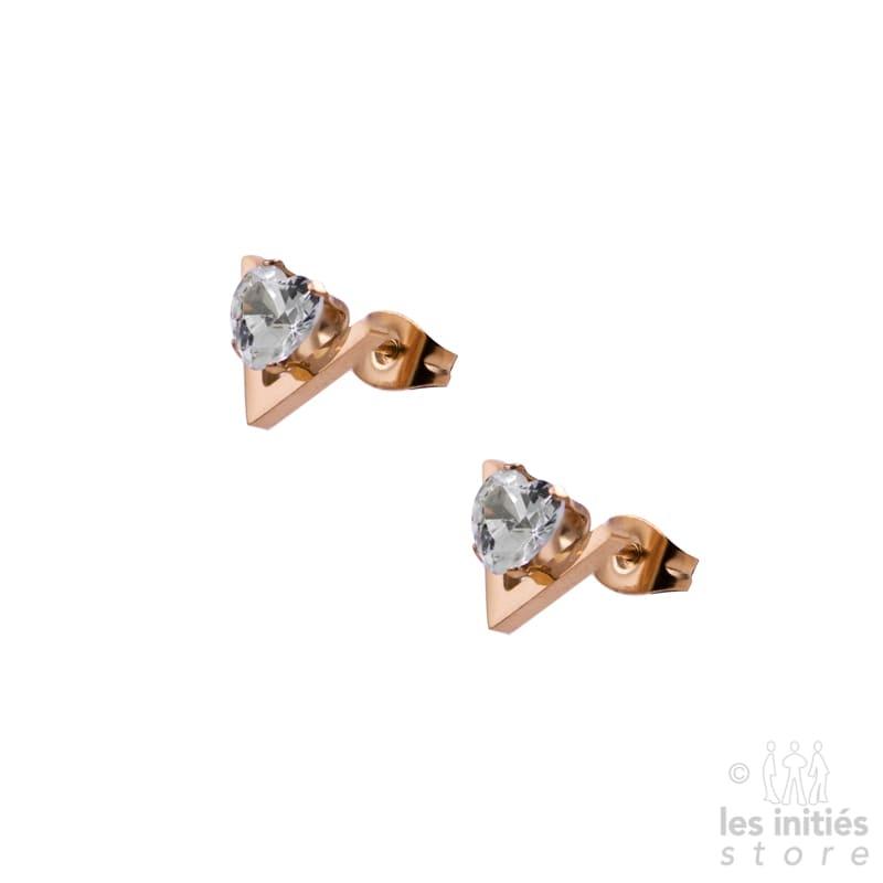 """Petites boucles d'oreilles """"V"""" strass coeur doré rosé"""