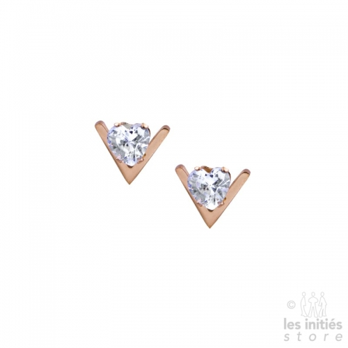 Small «V» heart rhinestones earrings rose gold plated