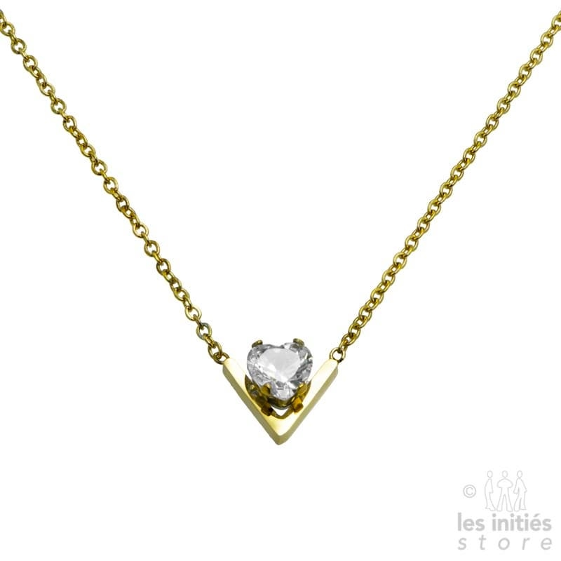Golden solitaire necklace