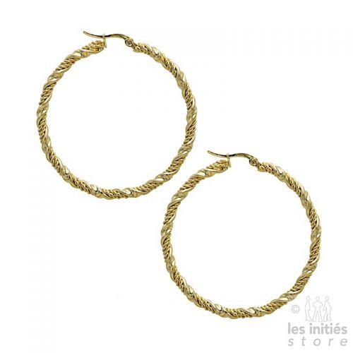 Boucles d'oreilles créoles torsadées 5 cm dorées