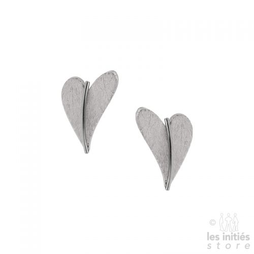 Silver hearts stud earrings