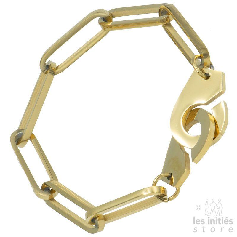 Big links handcuffs bracelet gold plated