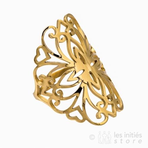 Bague filigrane arabesque dorée